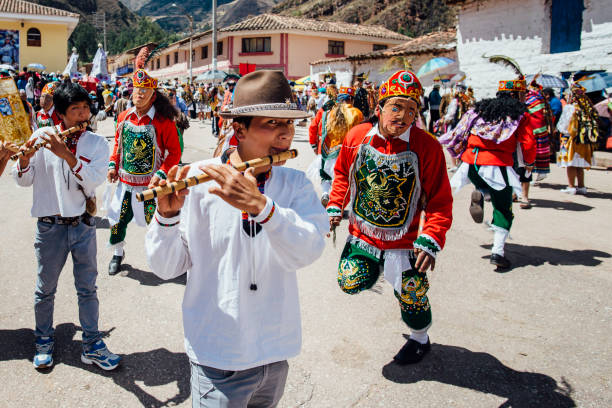masked dancers on assumption day in Coya Coya, Cusco, Peru, south america - August 15, 2015: masked dancers on assumption day in Coya, small village near Cusco peruvian culture stock pictures, royalty-free photos & images