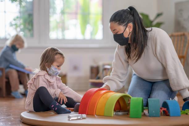 Masked daycare stock photo