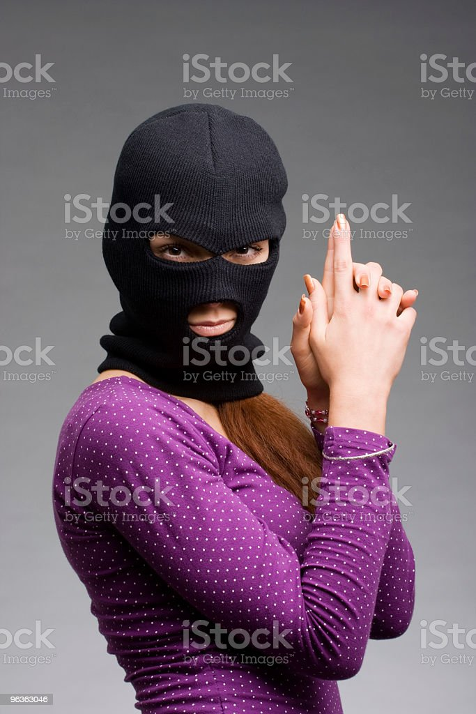 Masked Female Criminal royalty-free stock photo