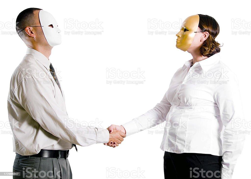 Masked Handshake royalty-free stock photo