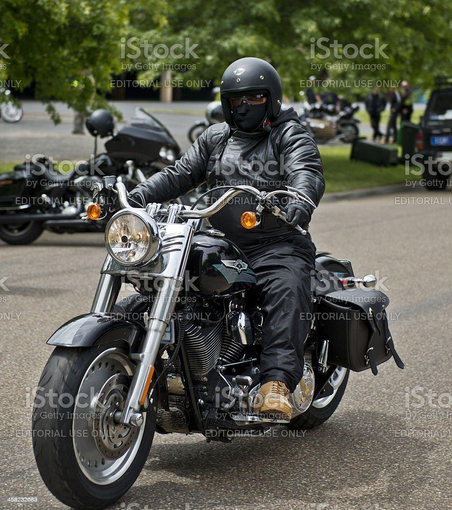 Masked Harley Davidson Rider stock photo