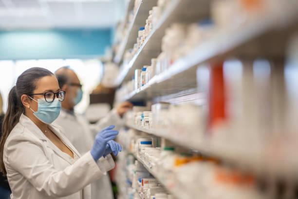 Masked Pharmacist stock photo