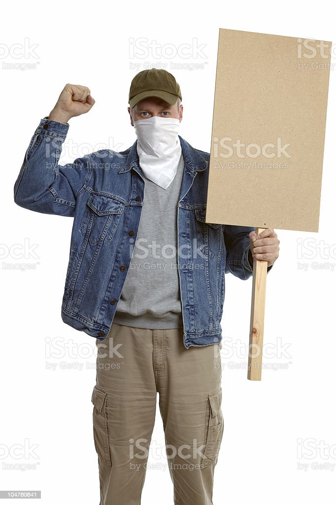 Masked protester royalty-free stock photo