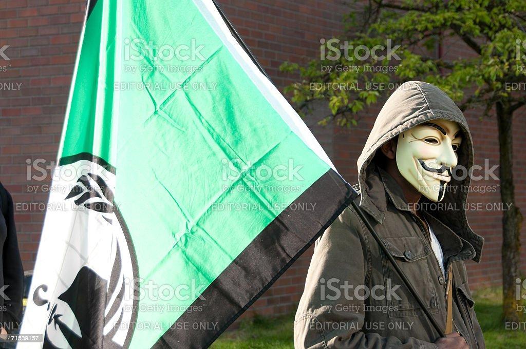 Masked Protestor royalty-free stock photo