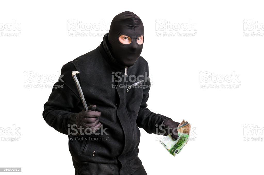 Masked thief in balaclava with crowbar isolated on white stock photo