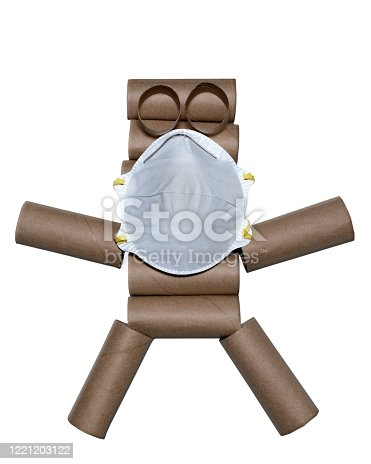 Empty toilet rolls form a toilet paper roll person with N95 mask on white background with copy space.