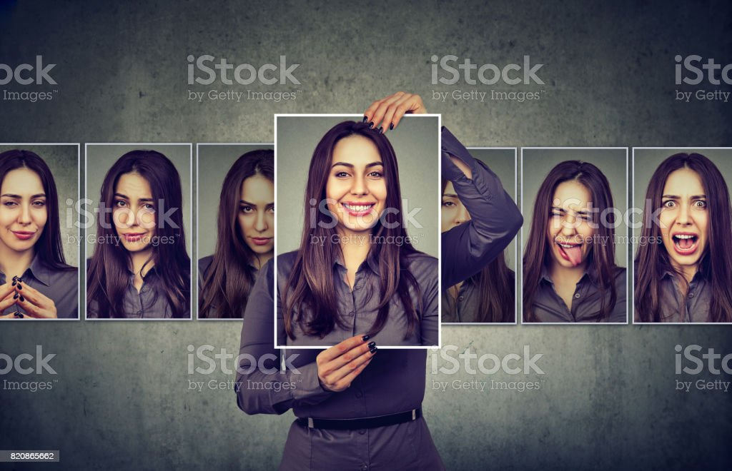 Masked woman expressing different emotions stock photo