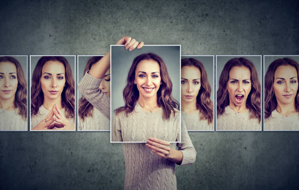 masked woman expressing different emotions - emotion stock pictures, royalty-free photos & images