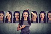 istock Masked woman expressing different emotions 958082360