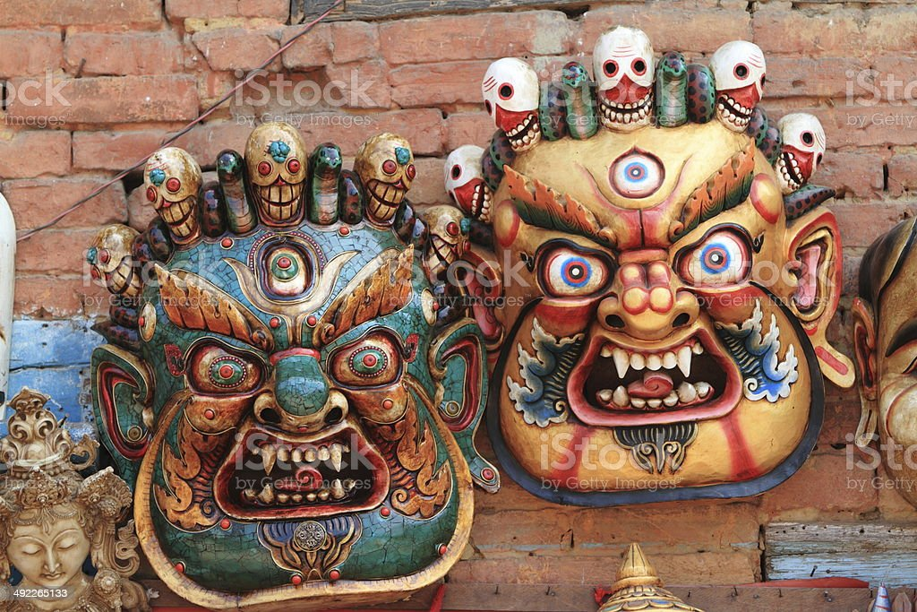 Masken von Göttern in Nepal royalty-free stock photo