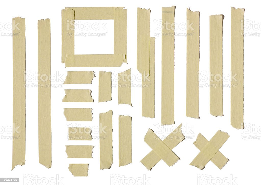 Masking tape creating different sizes and shapes stock photo