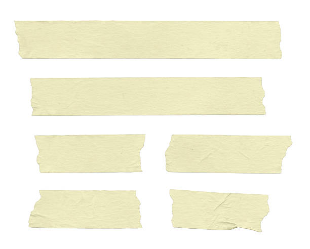 masking tape in various sizes on white background - adhesive tape stock photos and pictures