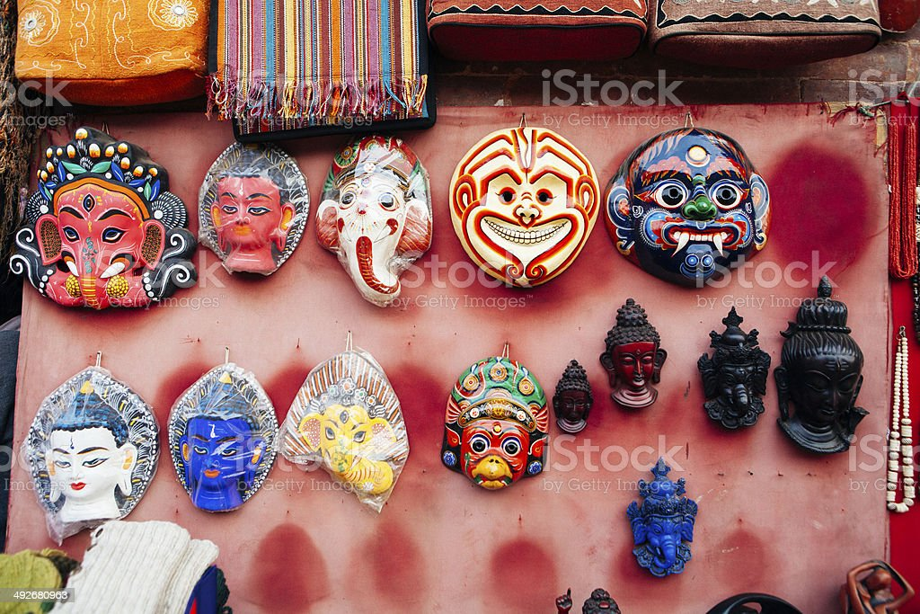 Masks in a curio shop, Bhaktapur, Nepal. stock photo