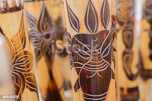 istock Masks made of cane, handicrafts on display 883433732