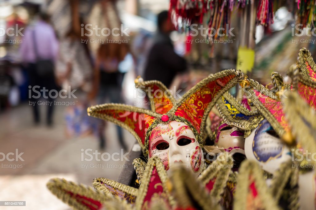 Masks on Verona market stock photo