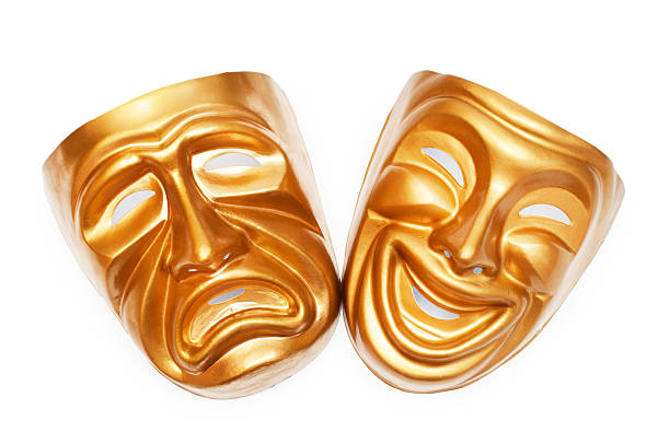 masks with the theatre concept - tragedy mask stock photos and pictures