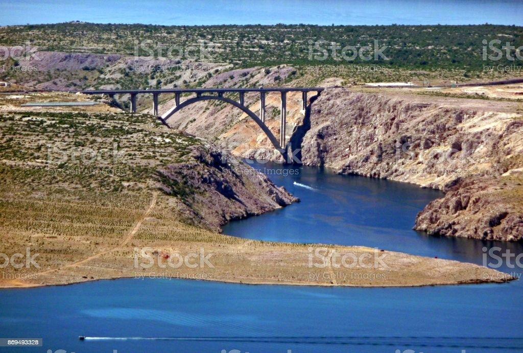 Maslenica higway bridge over the Adriatic sea near Zagreb in Cro stock photo