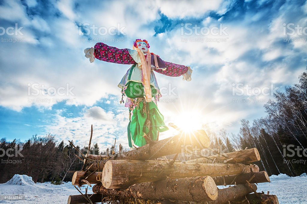 Maslenitsa doll stock photo