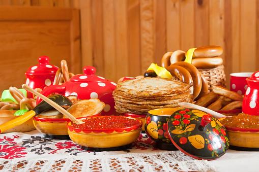 Maslenitsa festival meal