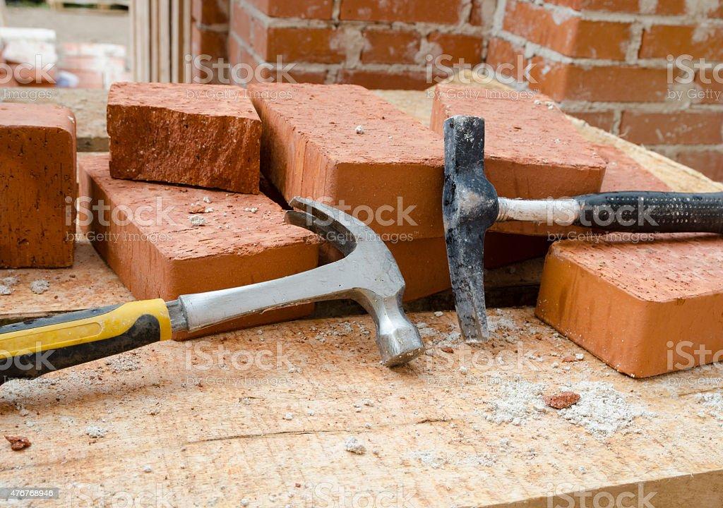 Mason bricklaying background stock photo