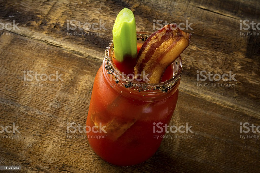 Mason Jar Bacon Bloody Mary stock photo
