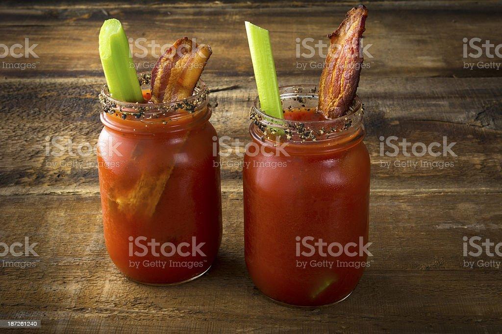 Mason Jar Bacon Bloody Marys stock photo