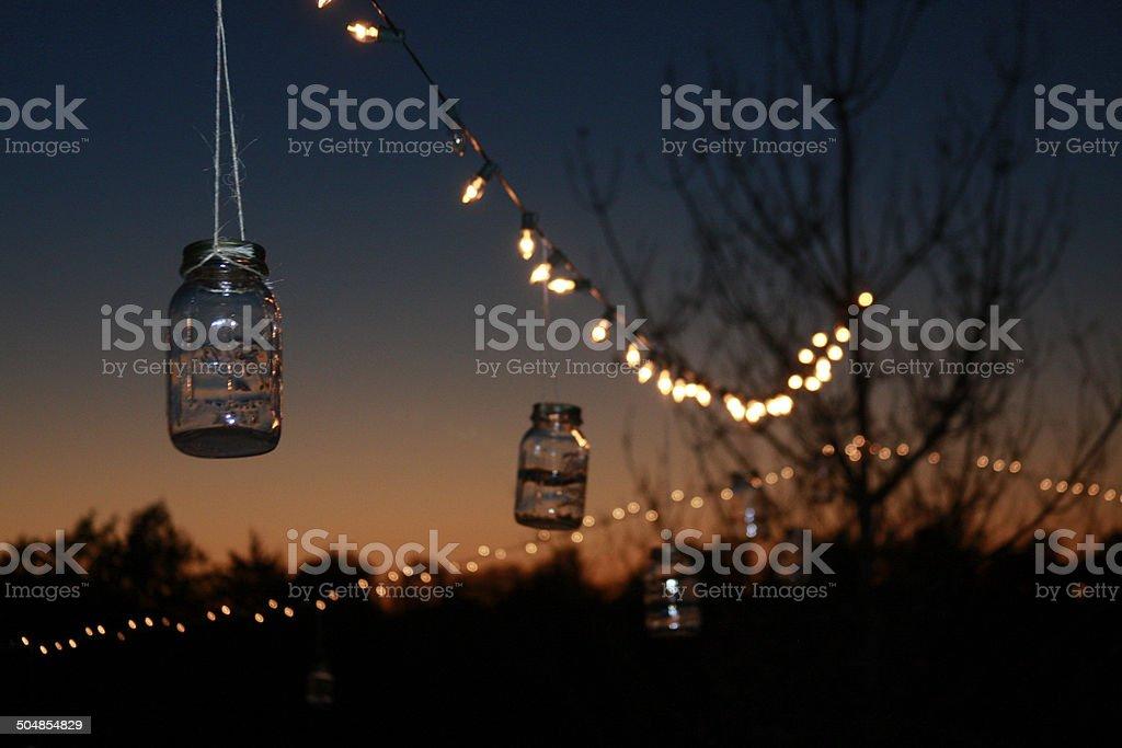 mason jar evening stock photo