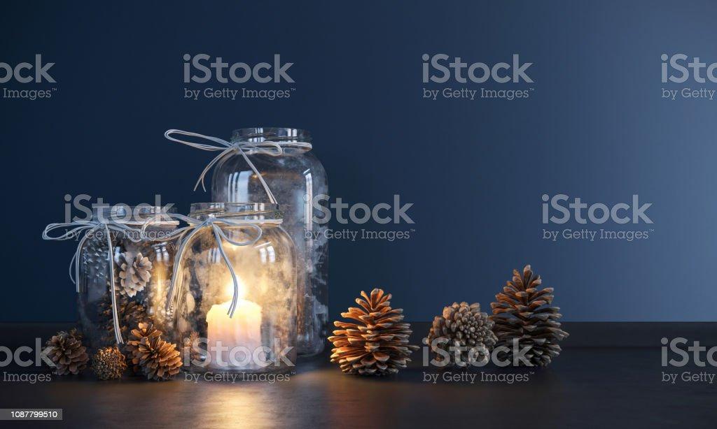 Mason Jar Home decoration Advent Stock Photo