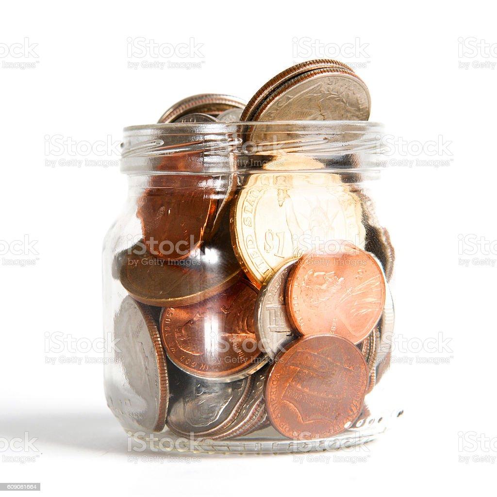 Mason Jar with Coins on White stock photo