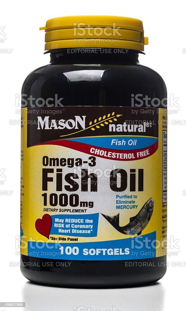 Mason Omega-3 Fish Oil softgels bottle royalty-free stock photo