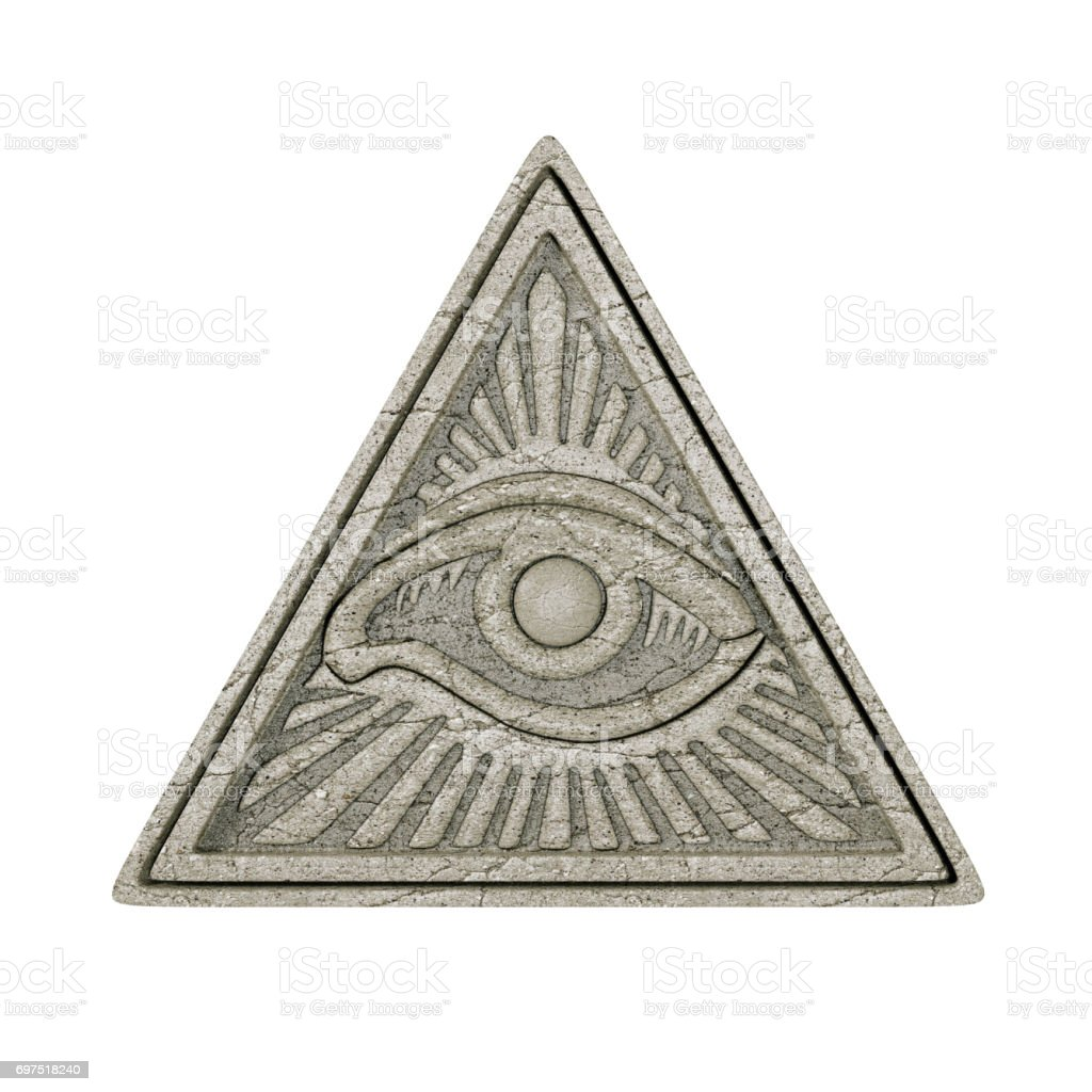 Masonic Symbol Concept.  All Seeing Eye inside Pyramid Triangle as Stone. 3d Rendering stock photo