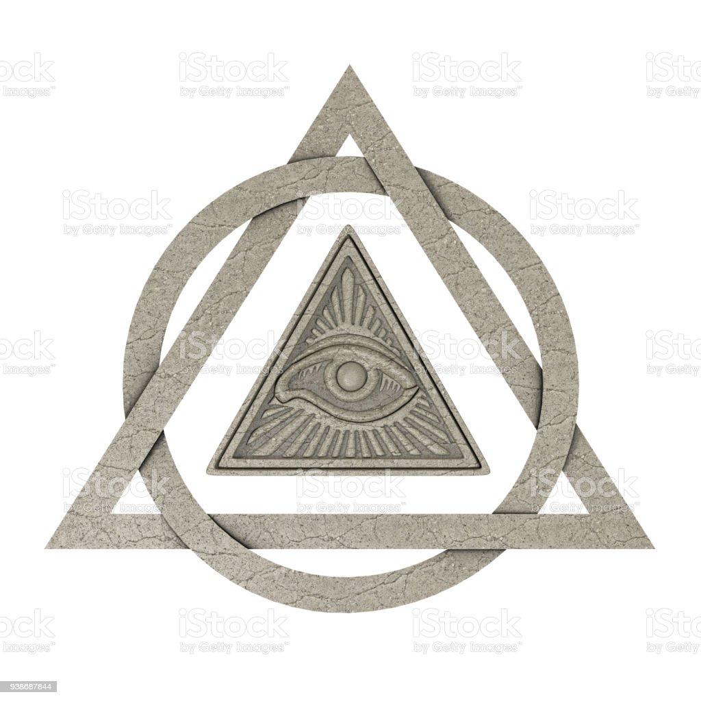 Masonic Symbol Concept All Seeing Eye Inside Pyramid Triangle As