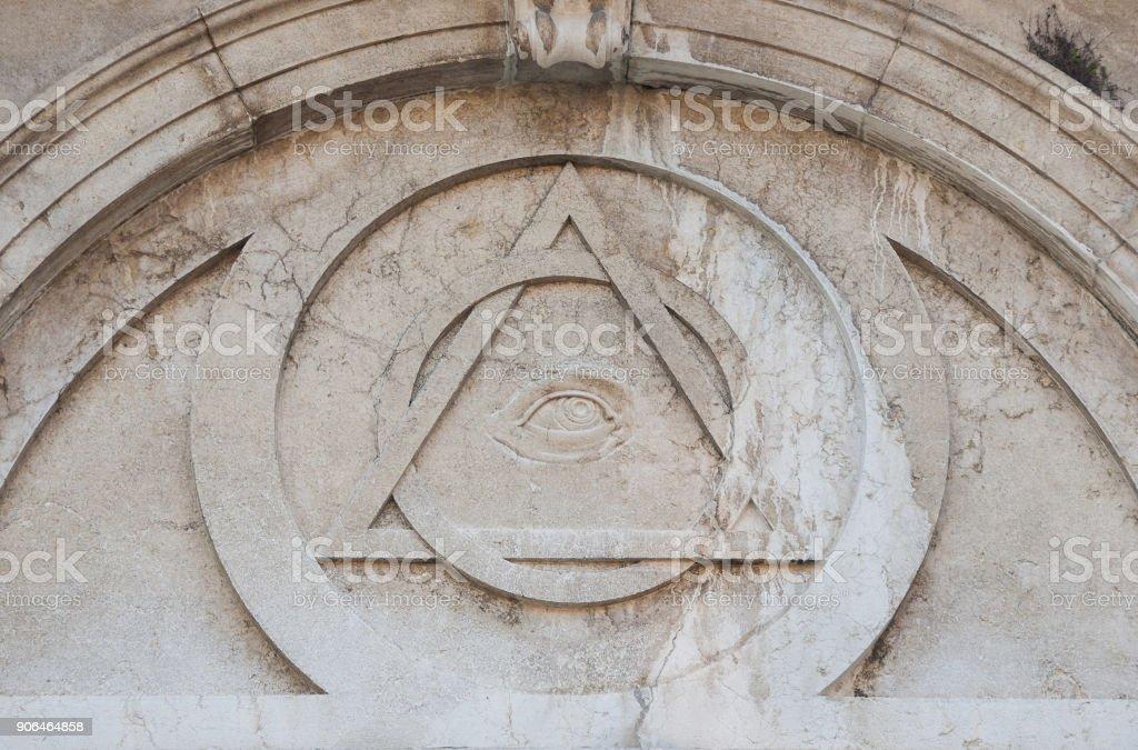 Masonic symbols in Venice stock photo
