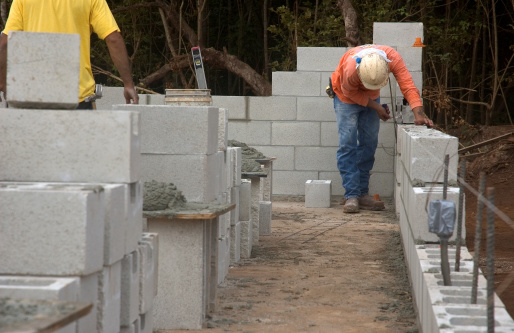 A CMU Wall being erected.