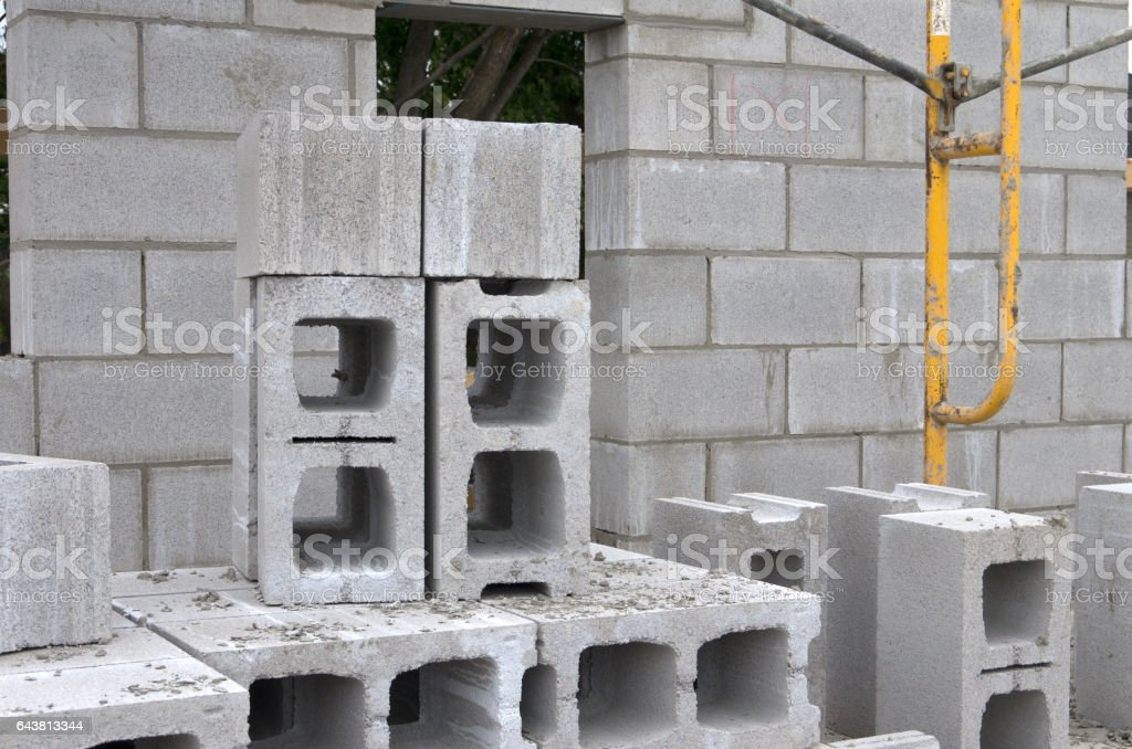 Masonry Wall Construction with Cinder Block stock photo
