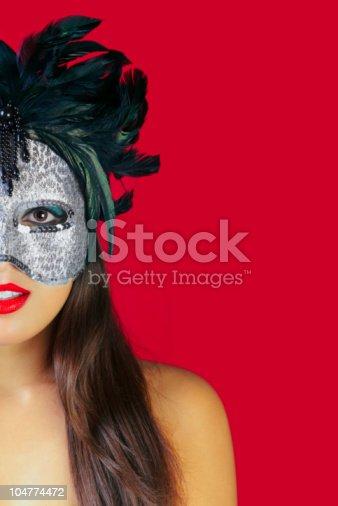 474303291 istock photo Masquerade mask red background 104774472
