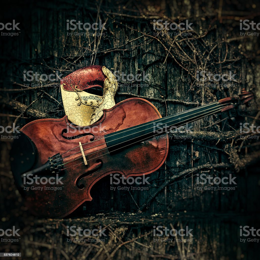 Masquerade - Phantom of the Opera Mask with Violin stock photo
