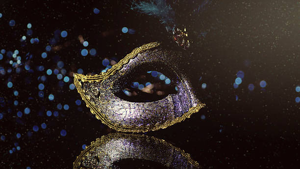 Masquerade venitian carnival mask, female theatrical feathers - Photo