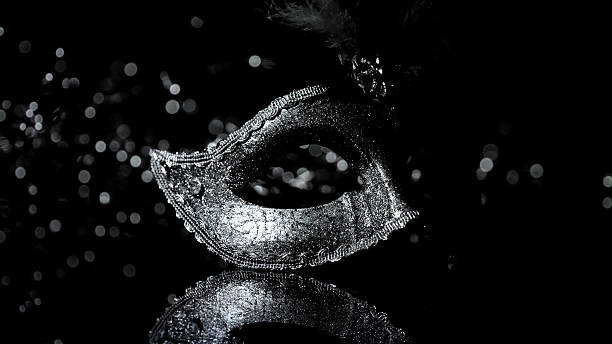 masquerade venitian carnival mask, female theatrical feathers - maskenparty stock-fotos und bilder