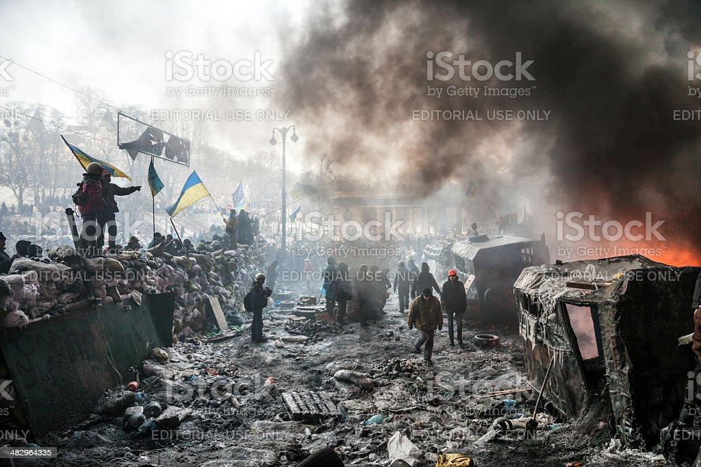 KIEV, UKRAINE - January 25, 2014: Mass anti-government protests stock photo