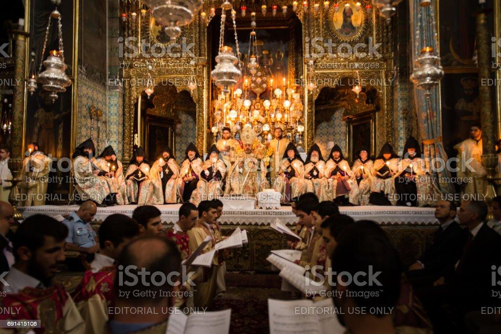 Mass at Armenian Orthodox Cathedral of St. James, Jerusalem stock photo