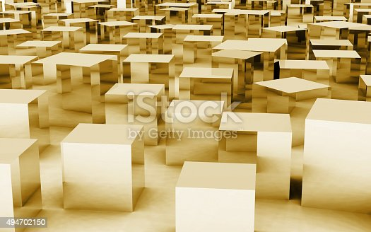 istock 3D mass cube by gold reflection 494702150