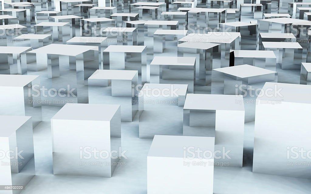 Cubo Di Metallo.3 D Cubo Di Massa Di Acciaio Riflessione In Metallo
