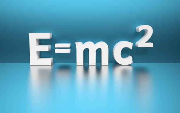 Mass energy formula in white blue colors stock photo