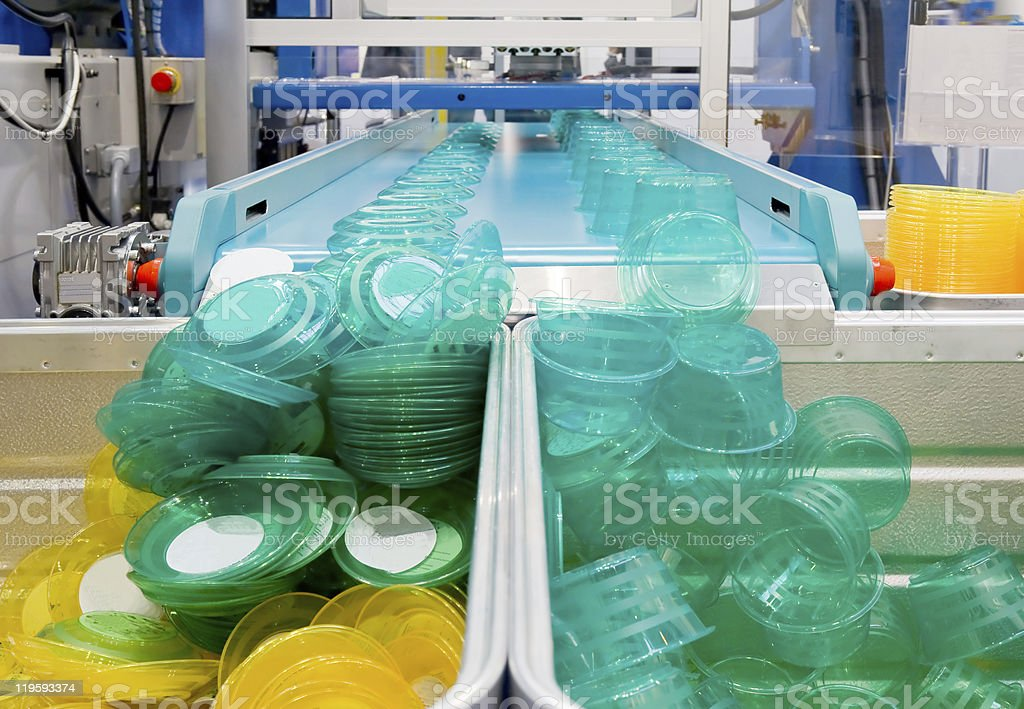 Mass production of plast stock photo