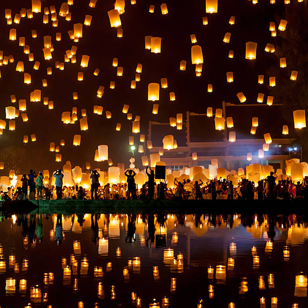 mass sky lantern release - rislampa bildbanksfoton och bilder