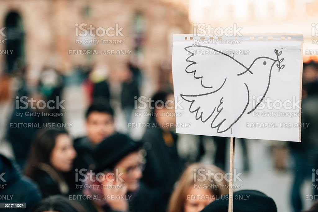 Mass unity rally held in Strasbourg following recent terrorist a stock photo