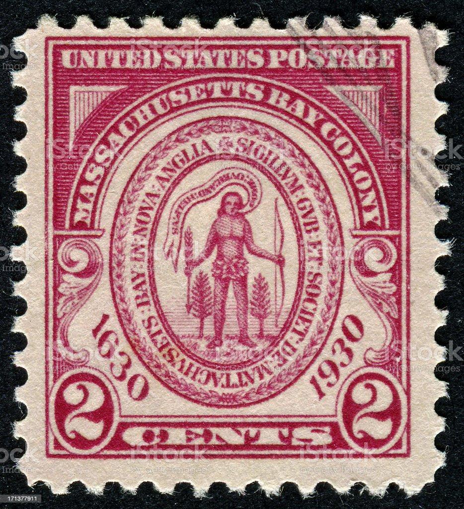 Massachusetts Bay Colony Stamp royalty-free stock photo