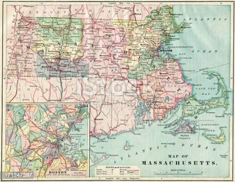 Very Detailed Physical Map Of Massachusetts From 1884 Available Up To XXXL Size.