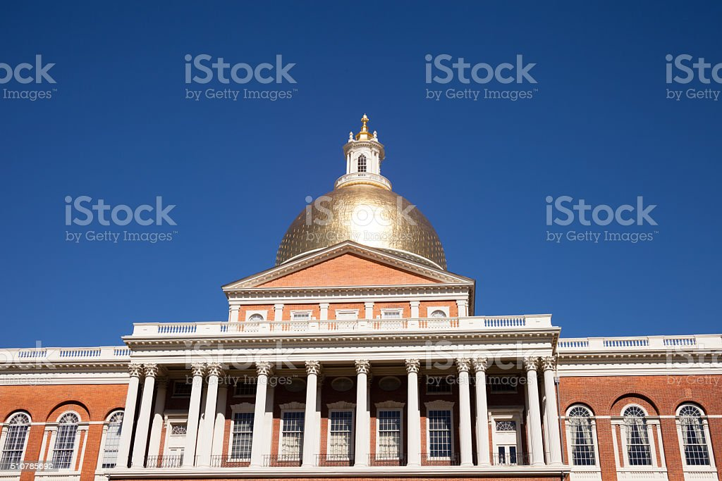 Massachusetts State Capitol House in Boston stock photo